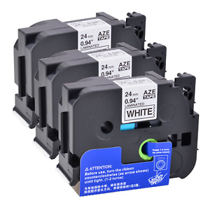 "3PK Compatible Brother 0.94"" TZ251 TZe251 Black on White Label Tape Cassette"