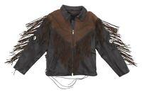 Vintage Fringe Leather Motorcycle Jacket L Large Womens Black/Brown Biker Jacket