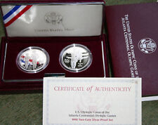 1995 Olympic SILVER Blind Runner and Gymnast Silver Dollar 2 Coins with Box COA