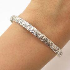 """Vtg BEAU 925 Sterling Silver Floral Engraved Bangle Bracelet 8"""""""