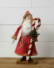 """New Primitive Folk Art Antique Style SANTA DOLL WITH CANDY CANE Figure 15"""""""