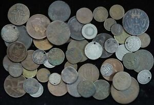 Lot of 50 1800's Unsearched Old World Foreign Coin Collection