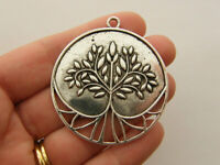 1 Tree pendant charms antique silver tone T149