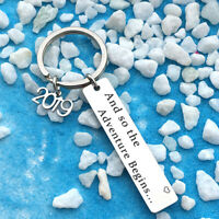HD_ CO_ Letter 2019 Adventure Begins Pendant Keychain Key Ring Holder Graduates