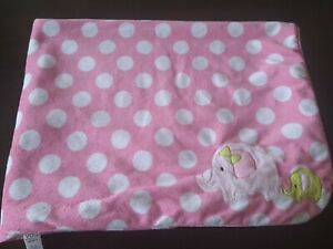 Just One Carter's Elephant Baby green pink white elephant dots sherpa blanket