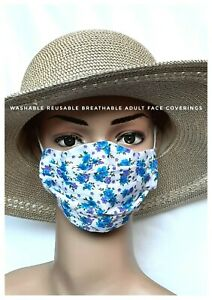 BLUE FLORAL LADIES FACE MASKS FACE COVERING FABRIC REUSABLE WASHABLE 2 LAYERS