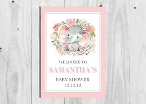 A4 A3 Personalised Pink Elephant Baby Shower Welcome Sign, Girl Baby Shower