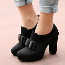 Women's Winter Ankle Boots Platform Bow Zip Suede Chunky Heel Booties US 6 Black