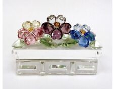 Crystal World Pansy In Planter Figurine New In Box
