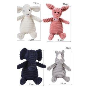 Corduroy Animal Shape Plush Pet Dog Toys Cute Squeaky Chew Molar Interactive Toy