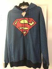 SUPERMAN HOODIE BLACK BLUE SMALL EMBLEMS SIZE XL NWT