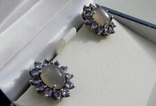Superb! 6g sterling silver 925 moonstone tanzanite cluster stud pierced earrings