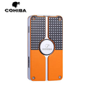 COHIBA Windproof 3 Torch Jet Flame Metal Cigar Lighter Refillable Lighter Punch