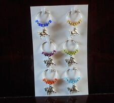 Wine Glass Charms, Handmade, with Horse and Glass Beads