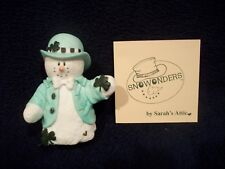 Sarah's Attic Snowonders March Snowman With 4 Four Leaf Clovers #6402 Lucky