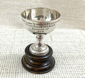 1928 Argento Antico Placcato Militare Trofeo Rasato Tennis Association & Stand