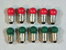 Lionel Trains Light Bulbs Red & Green # 363 Bayonet Base 14 Volt - 10 Pcs