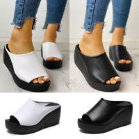 ❤️ Women's Summer Slip On Wedge Heel Sandals Ladies Peep Toe Slippers Shoes Size