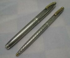 Sheaffer Imperial Sterling Silver Oblique Fountain Pen & Pencil Set,GT,Box *MINT