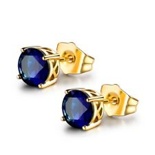 Vintage Fashion Wedding Jewelry Gold Filled Blue Topaz Crystal Earrings 6MM