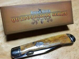 "Rough Rider Smth Tobacco Bone Trapperlock 4 1/8"" Pocketknife w/Thumb Lug RR1131"