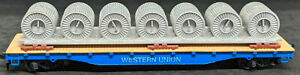 Tyco HO: Western Union Flat Car with Cable Reel Load Vintage, BLUE
