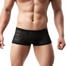 Mens Sexy Lace Boxer Briefs Translucent Racy Underpant Underwear Shorts