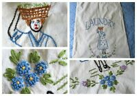 Vintage Embroidered Laundry Bag / Farmhouse Cottage Cabin 24 X 16.5