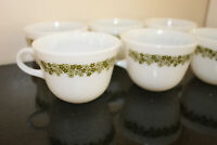 6 Vtg Pyrex/Corning Milk Glass Coffee Tea Cups Spring Blossom Green Crazy Daisy