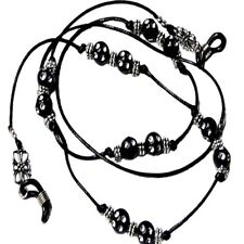 Reading eye glasses, spectacle chain holder lanyard  Black Sparkles on Cord