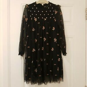 Zara Girls Black Embroidered Floral Mesh Layer Tunic Midi Dress Age 9 Years