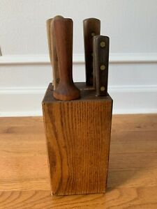 VINTAGE CHICAGO CUTLERY KNIVES SET OF 5 WITH  BLOCK & SHARPENER