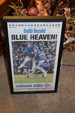 CHICAGO CUBS NEWSPAPER FRAMED COMPLETE 2016 WORLD SERIES HERALD FRONT SECTION