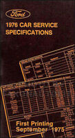 1976 Lincoln Service Specifications Manual Mark IV Town Car Continental Original