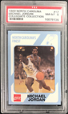 1989 COLLEGIATE COLLECTION  MICHAEL JORDAN NORTH CAROLINA CARD #17 PSA 8 NM-MT