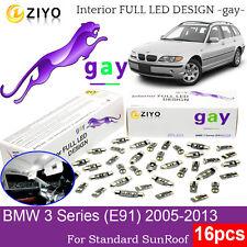 16 Bulb LED HID White Full Interior Light Kit For BMW 3 Series E91 Standard Roof