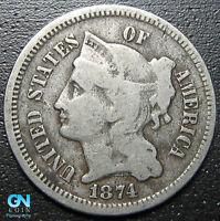 1874 3 Cent Nickel Piece  --  MAKE US AN OFFER!  #R9155