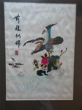 Superb Signed Chinese Japanese Embroidery on Silk Pair Eagles Birds of Prey VGC