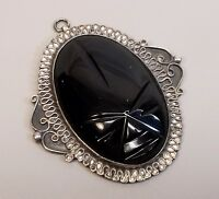 Vtg Heavy Sterling Silver Obsidian Mask Face Pendant Mexico Mayan Aztec Taxco