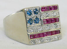 AMAZING! Gents Solid 14K White Gold Diamond/Sapphire/Ruby American Flag Ring 9