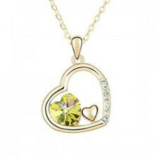 18K White Gold Plated Beautiful Crystal Yellow Rhinestone Heart Necklace