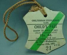 Cheltenham Steeplechase Club Childs Day Pass Badge Oct 12th 1955 Horse Race Hunt