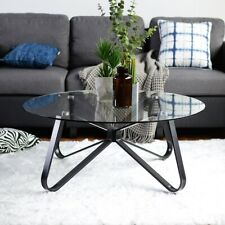 Metal & Glass Round Coffee Table Tea Table Modern Home Furniture Black New 80cm