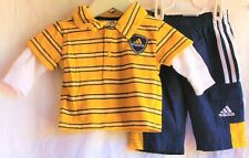 BABY ADIDAS BOYS POLO WATERPROOF TRACKSUIT PANTS MUSTARD NAVY SIZE 3 MONTHS EXC