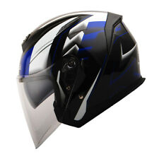 1Storm DOT Motorcycle Open Face Helmet Scooter Classical Dual Lens Racing Blue
