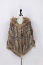 Genuine Knitted Rabbit Fur Hodded Poncho Raccoon Fur Wrap Cape Jacket Coat