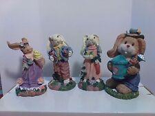 4 Piece Resin Spring Bunny Figurines