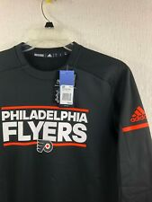 ADIDAS NHL Philadelphia Flyers Black Long Sleeve Player Crew Men's Size S - NEW!