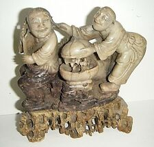 "NICE CHINESE ANTIQUE CARVED 2 FIGURE STATUE 6""SOAPSTONE WITH BASE PLAYFUL COUPLE"