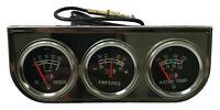 "Universal 2"" Triple Chrome Gauge Set Water Temperature Oil Pressure PSI Amperes"